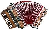 "Alpenklang 3/II Harmonika ""Deluxe"" B-Es-As Nuss (Steirische Harmonika/Knopfakkordeon, Blumendesign, Holz, mit Koffer und Riemen)"