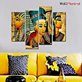 "WallMantra Egyptian Art Wall Painting / 4 Pieces Canvas Print Wall Hanging/Stretched And Framed On Wood / 44"" W X 24"" H/Home Decor For Living Room, Bedroom, Office Decoration"
