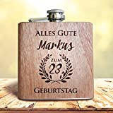 Persönliches Geburtstags Geschenk - Flachmann aus Holz, mit Namens Gravur und Wunsch Zahl/Alter! Individuelle Geschenkidee