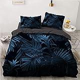 NEWAT Parure de lit bohème avec housse de couette et taies d'oreiller, motif forêt tropicale, feuilles de palmier vertes, ois
