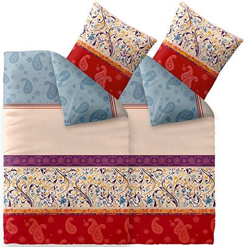 Flauschig weiches Winter-Bettwäsche-Set Baumwolle Biber 135 x 200 cm 4 tlg. CelinaTex 6000050 Touchme Megan beige hell blau rot Ornament Muster (Weiche Flanell-bettwäsche)