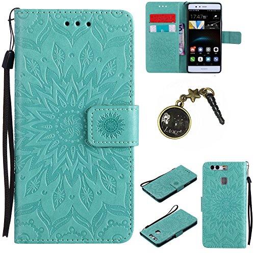 Preisvergleich Produktbild für Smartphone Huawei P9 Hülle,Hochwertige Kunst-Leder-Hülle mit Magnetverschluss Flip Cover Tasche Leder [Kartenfächer] Schutzhülle Lederbrieftasche Executive Design +Staubstecker (5FF)
