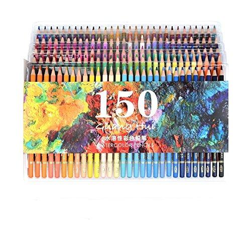 150Aquarell-Bleistifte–Ectech professionelle, wasserlösliche Buntstifte, für Kunstzeichnungen, Skizzen, Malbücher für Erwachsene