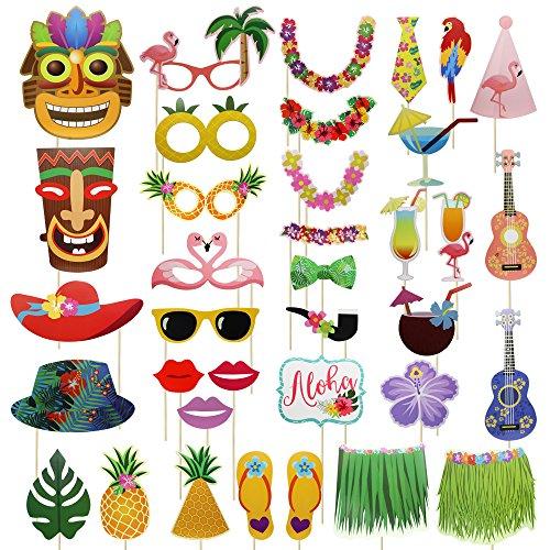 Meetory Kit de 36 piezas de accesorios de fotos hawaianas, palos de fotos coloridos, selfie props celebración para Hawaii Seaside, fiesta de piscina de verano, Luau playa vacaciones disfraces accesorios decoración