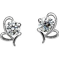 925 Sterling Silver Earrings, Infinity Love Heart-shaped Birthstone Crystal Earrings Jewelry Gifts for Mom Women Wife…