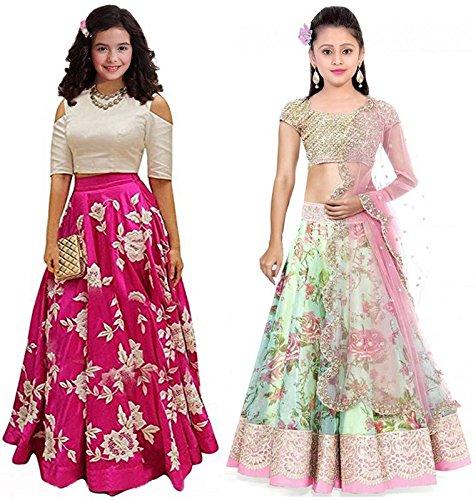JAKM Girl's Pink & Pista Banglori & Bhagalpuri Semi Stitched Combo Pack...