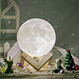 Moon Lamp 3d printed Methun Moon Light Night Light for Kids Gift for Women USB Charging and Touch Control Brightness  Warm and Cool White Lunar desk Lamp (4.7 inches with wood base)