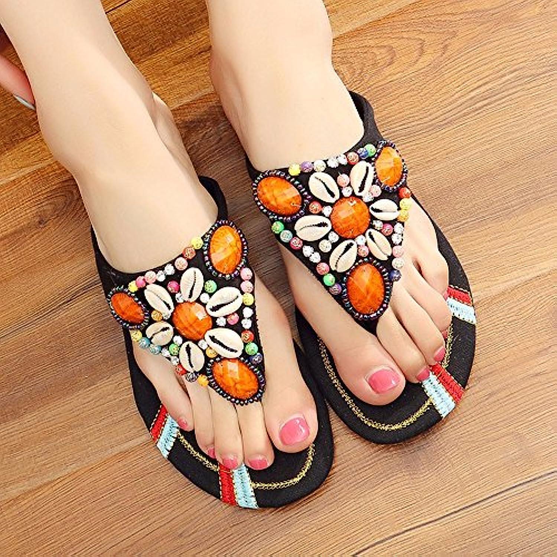 HBDLH Scarpe da donna Traspiranti comodo Summer Pantofole Retro Ricamato Di Fiori Perle Forte Pantofole Joker... | di moda  | Uomo/Donna Scarpa