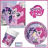 My Little Pony Mein kleines Pony Tischgeschirr Party-Deko 36-teilig Servietten Pappteller Plastikbecher Kindergeburtstag Partygeschirr für 8 Kinder