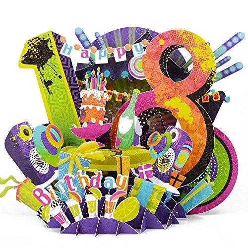 Artlalic Happy 18. Geburtstag Papier Laser Schnitt 3D Pop up Handgefertigt Post Karten