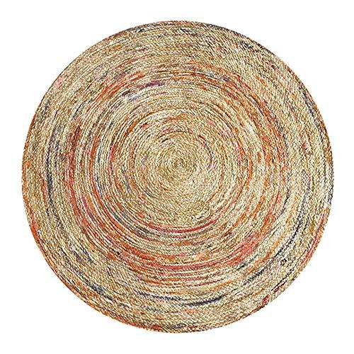 ShunHoo Alfombra Redonda Mandala Retro De India para Sala De Estar, Alfombra Redonda Flor Nórdica Habitación para Niños Alfombra De Área Geométrica Grande