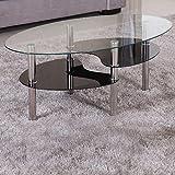 Couchtisch 98x58cm klar Ablage schwarz Sicherheitsglas Beistelltisch Wohnzimmertisch Glas Tisch Sofatisch Glas Loungetisch Ziertisch Chrom Gestell verchromt Modern Klarglas Schwarzglas