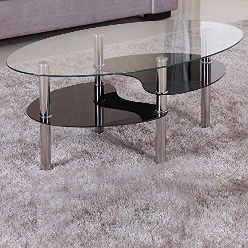 Euro Tische Couchtisch Glas mit 8mm Sicherheitsglas & Facettenschliff - Glastisch perfekt geeignet als Beistelltisch/Wohnzimmertisch (98x58x42cm, Klar/Schwarz) -