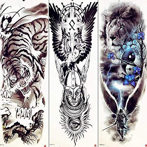 Guerriero tribale tiger mountain full arm tatuaggi temporanei sticker donne eagle wing lion dark night waterproof tatuaggi finti uomo