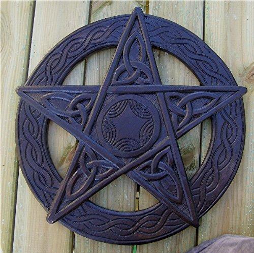 Pentagramma da appendere alla parete, in legno intagliato a mano, 35 cm