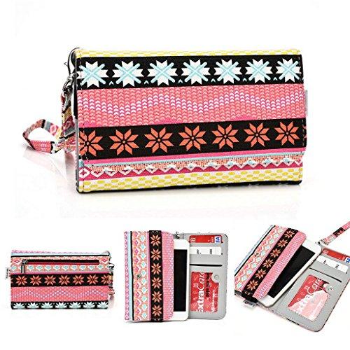 Kroo Téléphone portable Dragonne de transport étui avec porte-cartes pour Prune pourraient Pro vert rose