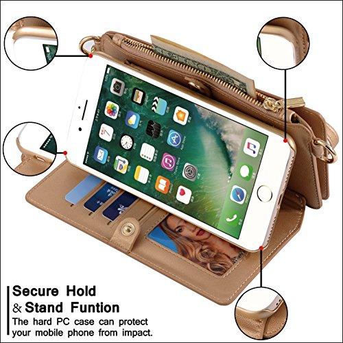 iPhone 7 Case,Custodia per iPhone 8,Ticase Multifunzionale Borsa di PU Pelle Premio Custodia [Staccabile][Antiurto] Flip Caso Protettiva Cassa del Portafoglio con Cordoncino per iPhone 8 (2017) and iP Argento