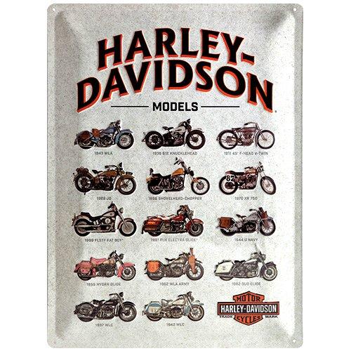 Nostalgic-Art 23233 Harley-Davidson - Models | Retro Blechschild | Vintage-Schild | Wand-Dekoration | Metall | 30x40 cm