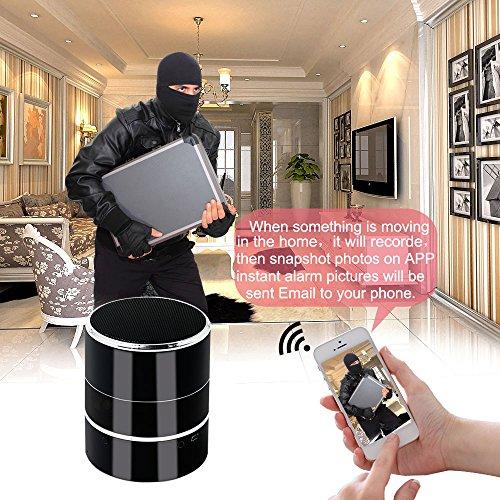 Spy Cam, HD Mini Telecamera Nascosta Spia WIFI Bluetooth Speaker TANGMI Microcamera Nanny 1080P 180° Pan Rotation Obiettivo della Fotocamera Sorveglianza di Sicurezza Domestica - 7