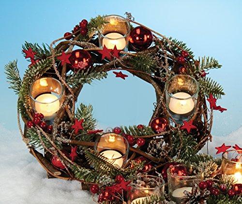 floristikvergleich.de Adventskranz Natur mit 4 Teelichtgläser Kranz-Ø: 28 cm Adventsgesteck ür Advent