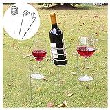 rameng Edelstahl Picknick-Flaschenhalter Wein & Halterung Glas für den Garten