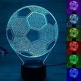 3D Illusion Nachtlampe, SUNINESS 7 Farben ändern Touch Control LED Schreibtisch Tisch Nachtlicht mit bunten USB Powered für Kinder Kinder Familie Ferienhaus Dekoration Valentinstag beste Geschenk(Fußball)