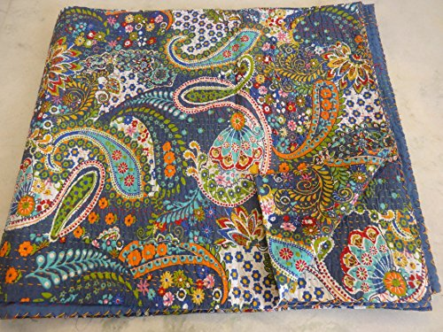 Asian-queen-size-quilt (Tribal Asian Textiles Multicolor Paisley Print QUEEN Size Kantha Quilt , Kantha Blanket, Bed Cover, Kantha bedspread, Bohemian Bedding Kantha Size 90 Inch x 108 Inch 11114 by Tribal Asian Textiles)