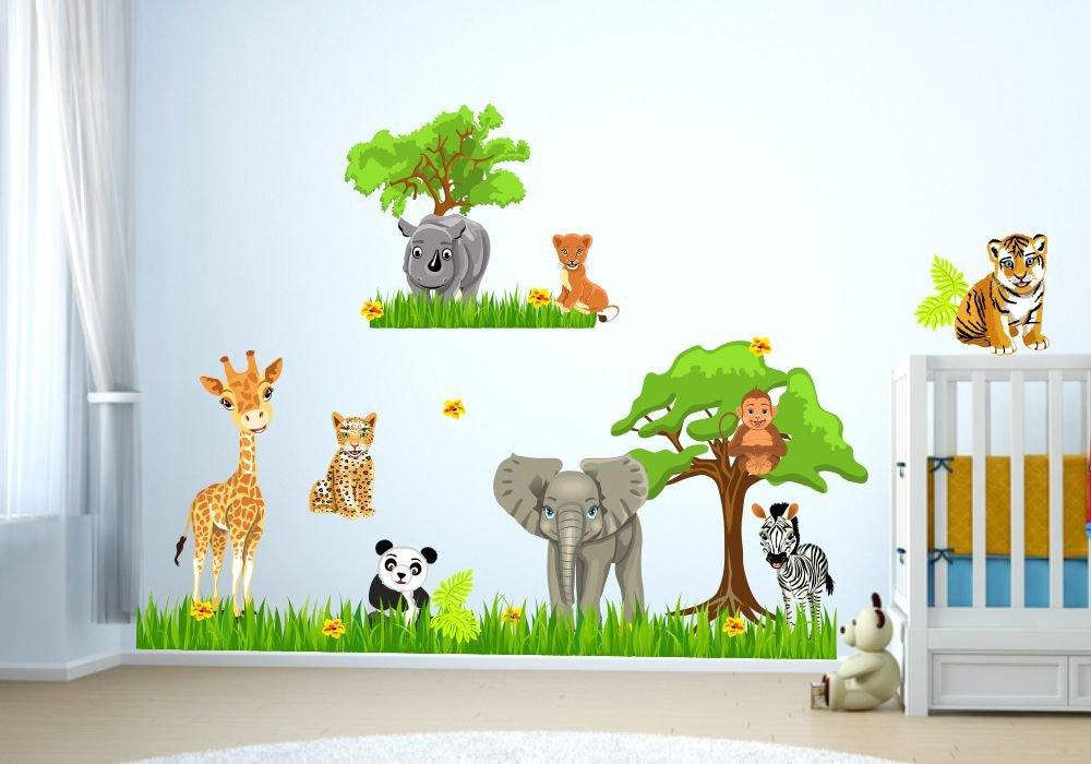 088 Wandtattoo Baby Zoo Dschungel Tiere Safari Löwe Elefant ...