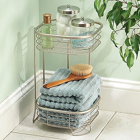mdesign libre pie Estantería esquinera para baño o ducha para toallas de mano, jabón, champú, loción, accesorios–2estanterías,