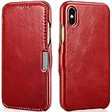 Mobiskin Tasche für Apple iPhone X / Case mit Echt-Leder Außenseite / Schutz-Hülle seitlich aufklappbar / ultra-slim Cover / dünne Klapphülle im Vintage Look / Etui / Rot