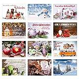 Set 12 exklusive Premium Weihnachtskarten mit Umschlag. Doppelkarten/Klappkarten mit Briefumschlag. Weihnachten Karte Postkarte Weihnachtspostkarte