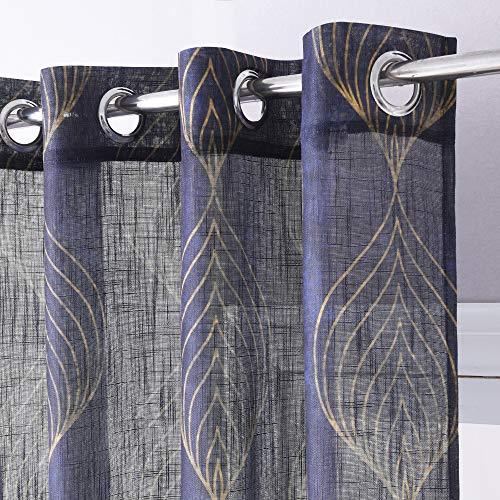 KGORGE Vorhang, durchsichtig, geometrisches Design Kolonialstil W52 x L95 | Pair Geometric Curve | Navy Blue