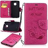 Moto G5 Hülle, Moto G5 Ledertasche,Moto G5 Brieftasche,Lifetrut [Magnetverschluss] Buch-Art bunter Schlag-Bär mit dem Säge-Mappen-Kasten-Folio-Abdeckung für Motorola Moto G5 [Rose]