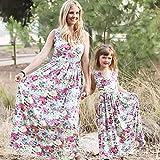 MCYs Mutter und Tochter Kleid Familie Matching Kleidung Floral Strand Sommerkleid Maxikleid Rundhals Ärmellose Kleider MaxiKleid A Linie Strandkleid (3 Jahre, baby)