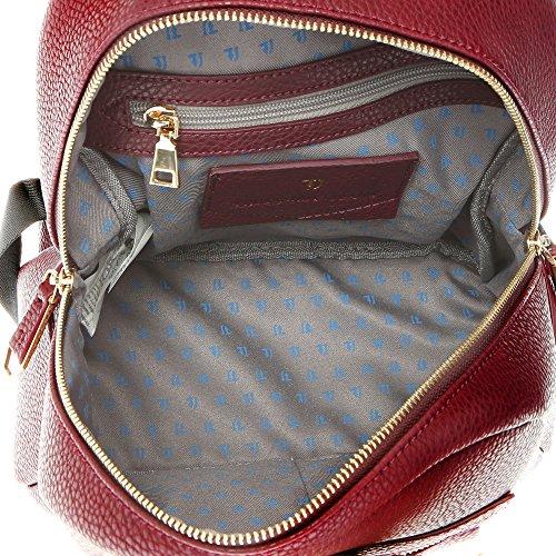 Trussardi Jeans Sac à bandoulière femme en cuir PU Impression Dollar-27x28x13 Cm - Mod. 75B711BM Bordeaux