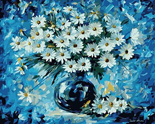 WMQMW Blue Daisy Diamond Für Hauptwanddekor Quick Point Stylus Stift Single Point Stitch Tool Erwachsene Muster Kunsthandwerk Kristall 30X40 cm Runde Bohrer -