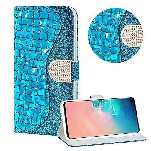 Diamant Brieftasche Hülle für Galaxy S10,Blau Wallet Handyhülle für Galaxy S10,Moiky Ultra Dünn Stilvoll Laser Glitzer Farbe Block Klappbar Stand Silikon Handytasche