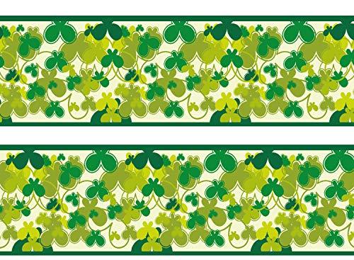 wandmotiv24 Bordüre Schmetterlinge Grün 260cm Breite - Papier Borte Tapetenbordüre Bordüren Borde Wandborde Muster Natur Sommer M0029