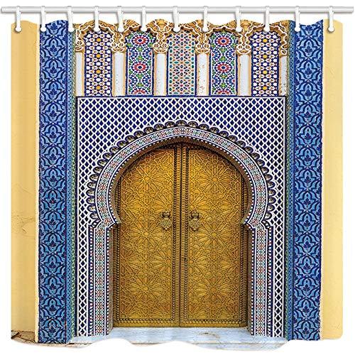 gohebe Marokkanische Vorhänge Dusche für Badezimmer Marokko Antik Türen Polyester Stoff wasserdicht Bad Vorhang Vorhang für die Dusche Haken enthalten 180x180cm (Stoff Marokko)