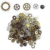 Amajoy 200 Gramm Steampunk Zahnräder Metall Anhänger Zahnraeder Steampunk für Schmuck Basteln (ca.140pcs),5 Farben