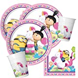MINIONS 36-Teiliges Party-Set Einhorn Fluffy - Teller Becher Servietten für 8 Kinder