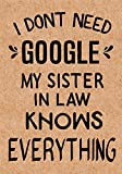 #3: I Don't Need Google My Sister in Law Knows Everything: Journal, Diary, Inspirational Lined Writing Notebook - Funny Sister in Law Birthday Gifts Ideas - Humorous Gag Gift for Women
