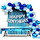 Edge Decor Happy Birthday Decoration Blue Silver Theme For Adults/Boys/Girls/Husband/Wife Combo Kit Of 72 Pcs-Silver Foil HBD
