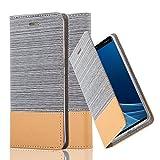Cadorabo Hülle für Nokia 8 Sirocco/Nokia 9-2017 - Hülle in HELL GRAU BRAUN – Handyhülle mit Standfunktion und Kartenfach im Stoff Design - Case Cover Schutzhülle Etui Tasche Book