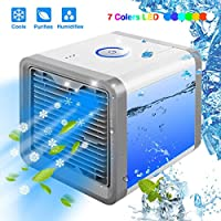 Linkax Air Cooler Personal Space Air Conditioner 3-in-1 Fan humidifier & purifier with 7 Colors LED Lights USB Portable Desktop Mini Cooler for Room Office Outdoor Travel