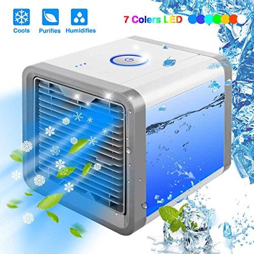 Linkax Mini Luftkühler Mobile Klimageräte Air Cooler mit Wasserkühlung Zimmer Raumentfeuchter Mini Klimaanlage ohne Abluftschlauch für Wohnung