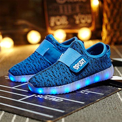 Usb Cobrando Das Meninas Tênis Sapatos Sneakers Sapato Brilhante Brilhantes Para Escuro Respirável Dorkasde Confortável Azul Meninos Estilo Levou E 4wgZxqX1I