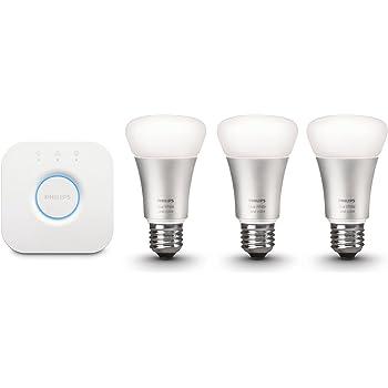 Philips Hue White and Color Starter Kit Illuminazione, Include 3 Lampadine Led E27 e 1 Bridge Hue, Imballaggio Standard