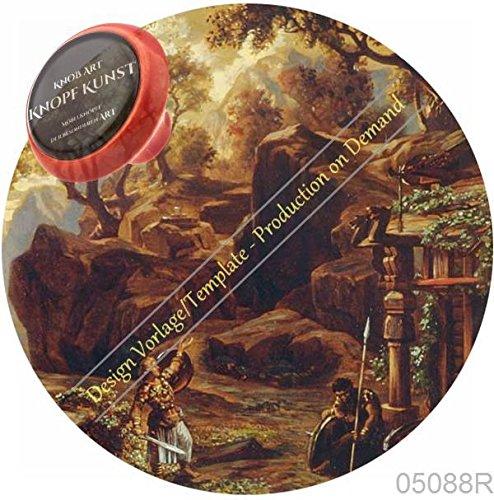Preisvergleich Produktbild Keramik Porzellan Möbelknopf Vintage Nostalgie 05088R Rot RG28 Bayreuth Historisch Goetterdaemmerung - Griffe, Knauf, Schublade, Schrank, Kommode - 100% Made in Germany