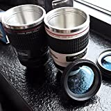#8: ShoppoWorld Camera Lens Mug With, Stainless Steel Travel Thermos Camera Lens Coffee Tea Cup Mug Coffee Cup